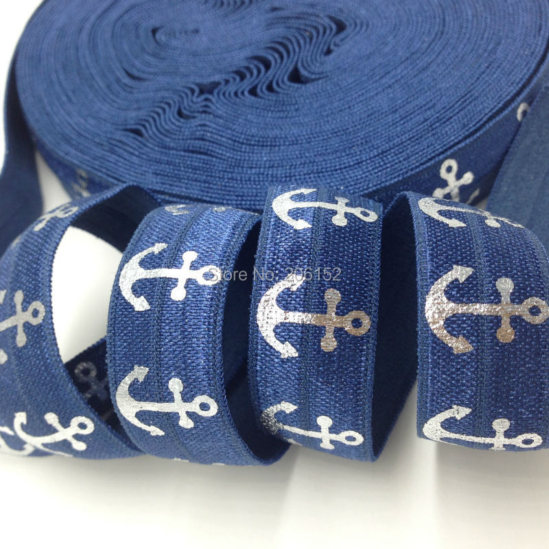 Blue Silver Foil Anchor Print Fold Over Elastic for DIY Hair Supplies 5/8 Anchor FOE for Hair Accessories 10Yards/lot ...