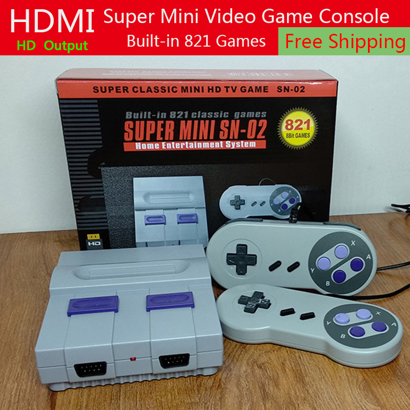 New Mini TV Game Console HDMI Output 8Bit Retro Video Game Console Built-In 821 Different Classic Games Handheld Gaming Player us plug hdmi video game player 16 bit md nostalgia gaming console with double 2 4g wireless controllers retro style design