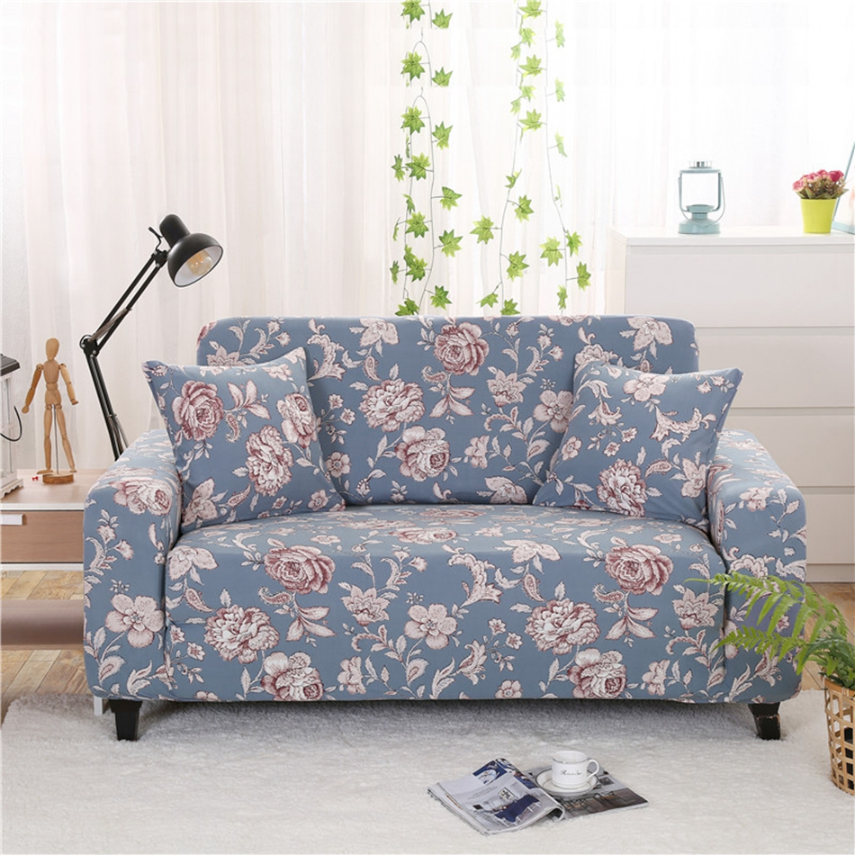 Light Blue Flowers Printing Universal Stretch Sofa Covers For Living Room Multi Size Home