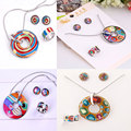 Great Promotion 4 Colors Colorful Enamel Jewelry Set (Necklace,Earrings,Ring),1set/pack