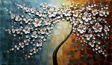 100% handpainted flower Oil Painting on Canvas Palette knife Tree 3D Flowers Paintings Home living room Decor