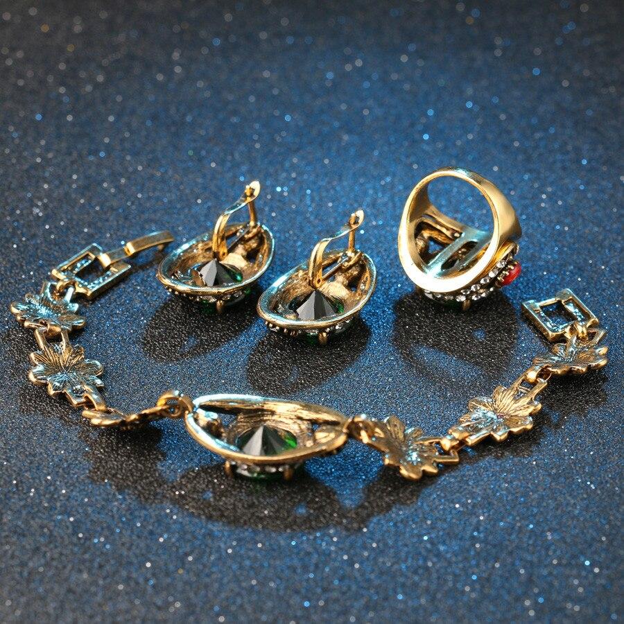Kualitas tinggi 2015 Mode Warna Emas Bridesmaid Hijau Jewelry Set 2 - Perhiasan fashion - Foto 6