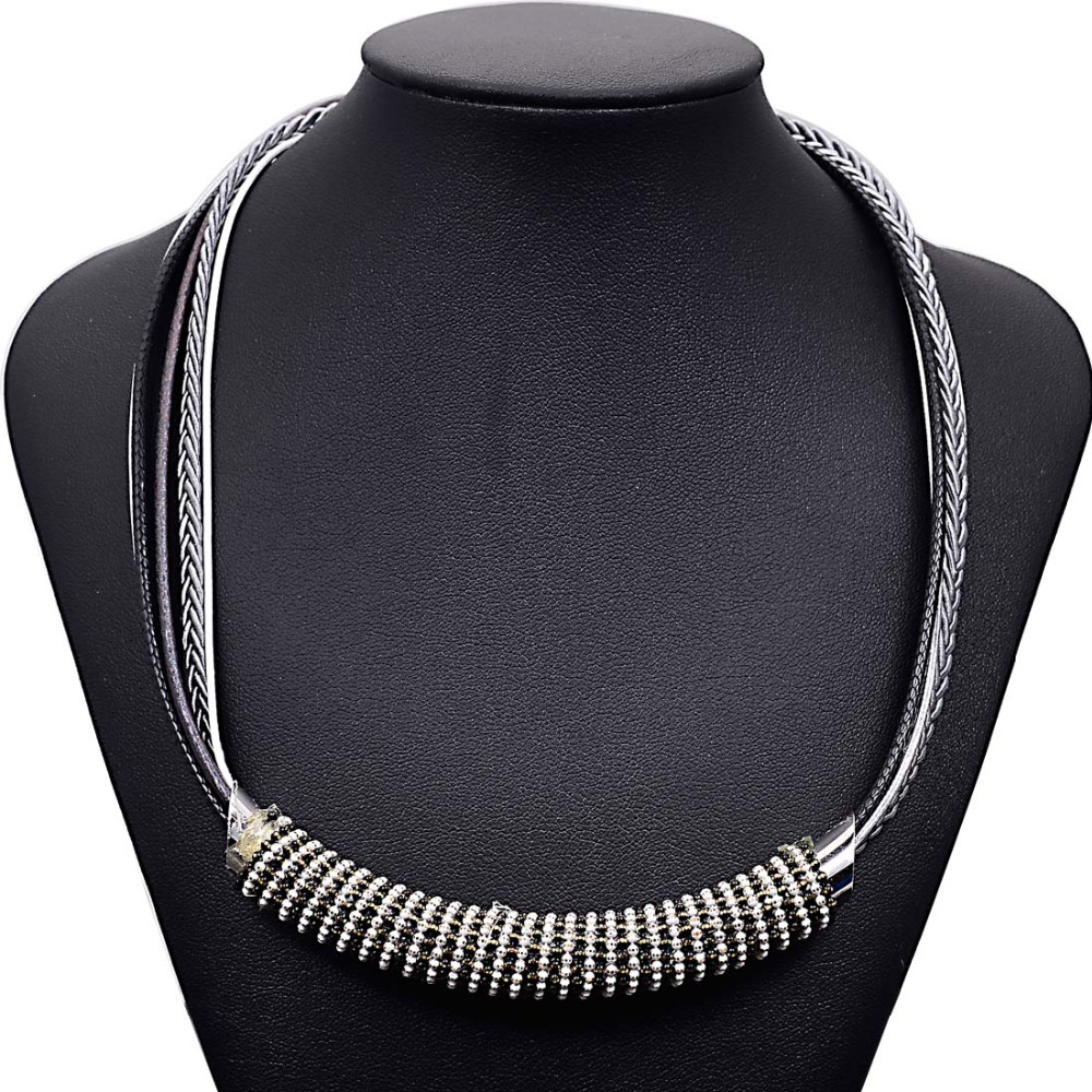 New Fashion handmade Statement Necklace woven necklace with big tube and ball chain for women gifts