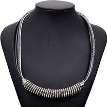 Nueva Moda hecha a mano Collar Llamativo collar tejido con tubo grande y la cadena de la bola para las mujeres regalos N1429