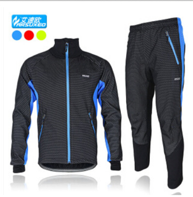 ARSUXEO Men's Windproof Bike Bicycle Wind Coat Fleece Thermal Winter Cycling Jacket Clothing Long Sleeve Jersey with Pants Set black thermal fleece cycling clothing winter fleece long adequate quality cycling jersey bicycle clothing cc5081
