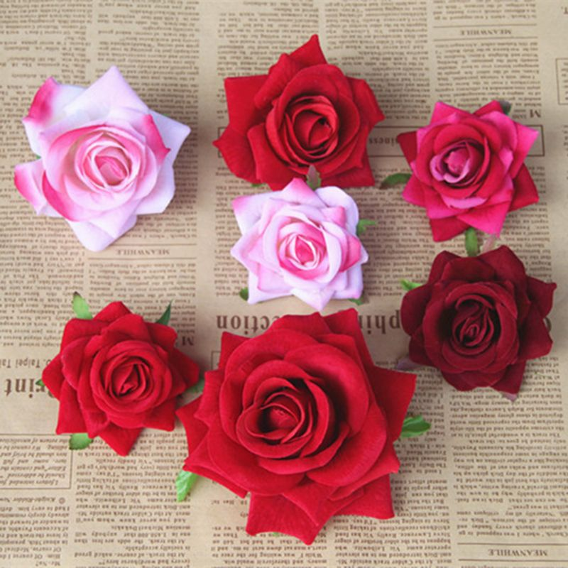 1Pc 3D Artificial Rose Flower Head Real Touch Velvet Without Stem For DIY Wedding Bouquet Decoration Home Party Supplies