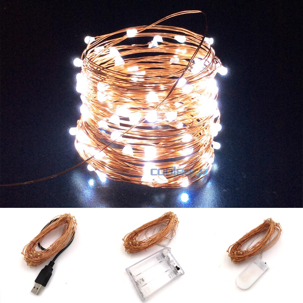1m 2m 3m 4m 5m 10m Waterproof Cooper Wire LED String Light Battery Powered LED Strip Garland Lamp For Christmas Holiday Decor