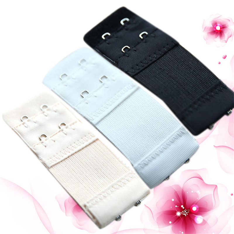 2 Button  Color White Black Apricot Trendy Bra Lengthened Buckle Elastic Telescopic Stainless Steel Buckle