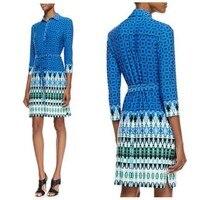 Sexy ladies' fashion good quality Italian fashion the shirt printing knitting belt slim beautiful blue dress