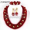 Africano Red Coral Contas Conjuntos de Jóias de Casamento Nigeriano Beads Africanos conjunto de Jóias Contas de Coral Conjuntos de Colar L1006