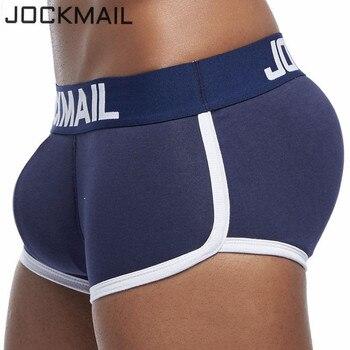 JOCKMAIL Marca Mens Underwear Dos Pugilistas Trunks com Gay Sexy Penis Bolsa Bulge Enhancing Frente + Voltar Duplo Removível Empurrar Para Cima copo