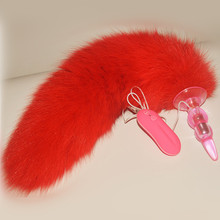 Real Big Fox Tail Anal Plug,10 Frequency Vibration Butt  Plug,Sex Toys For Women, Sex Games Adult Products Couples - A