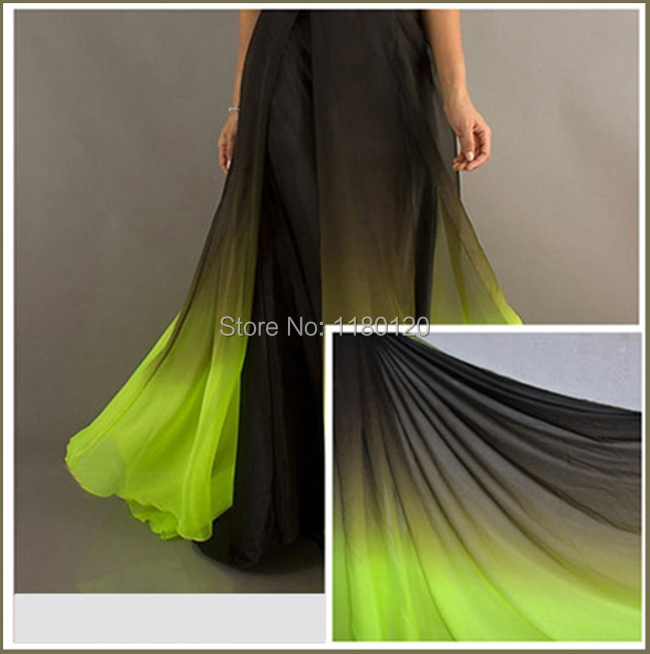 Neon green and black dresses