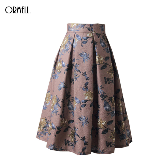 5956fc067a92e US $18.56 38% OFF|ORMELL Fashion Women Skirt High Waist Pleated Midi Length  Promotions Lady Coffee Blue Color Floral Party Casual Skirts-in Skirts ...