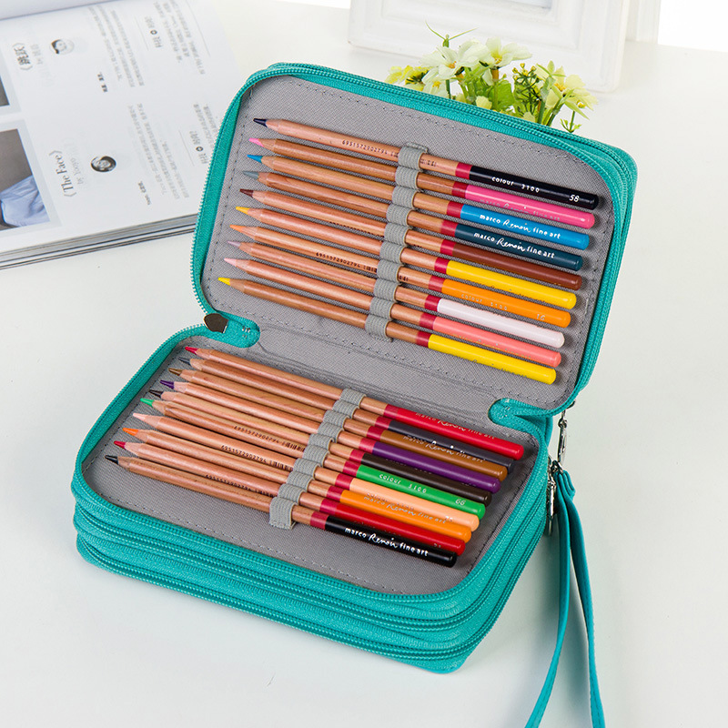Portable Large Capacity 72 Holders 4 Layers pencil colors case School Art Supplies Colored Pencil Bag gift for Student kids 2 3 4 layers high quality large capacity canvas pencil case drawing pens pencil bag portable pencil box school penalties 04856