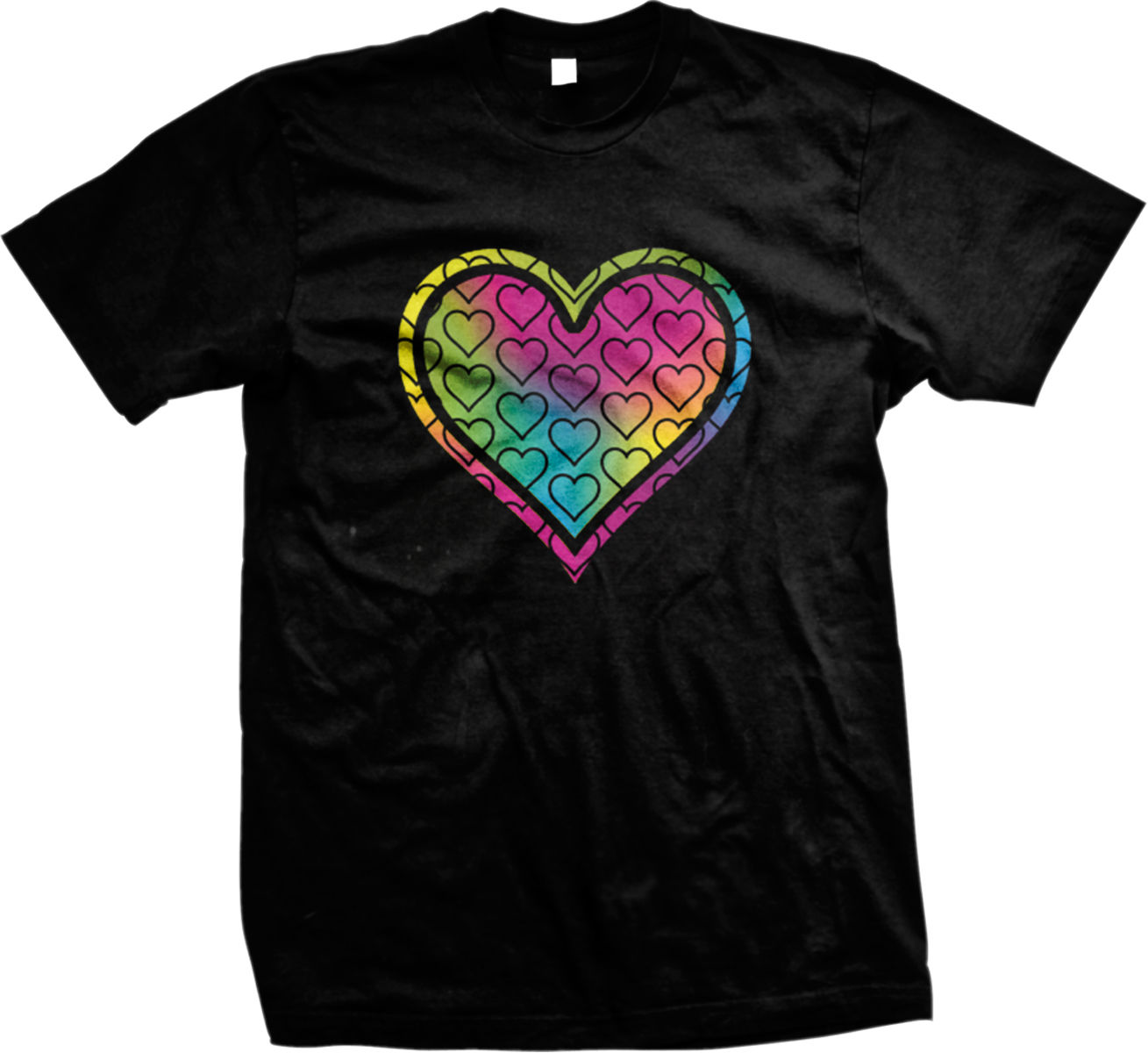Love Multicolored Heart Peace Hippie Mens T-shirt Printed Pure Cotton Men'S