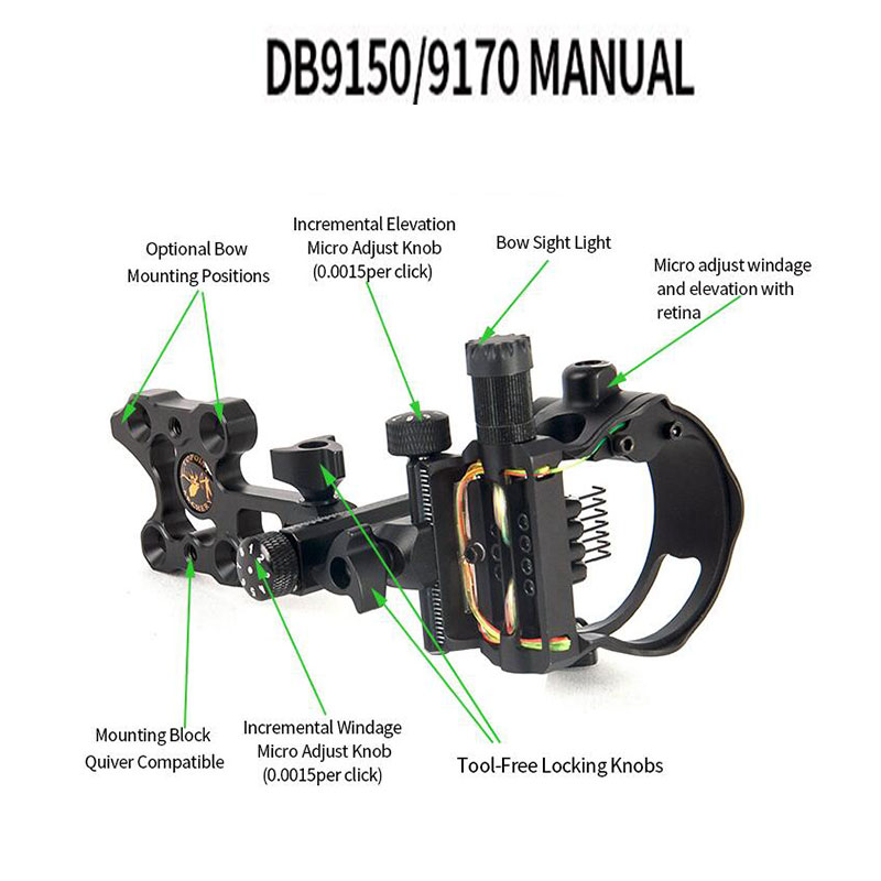 Image 5 - Archery Compound Bow Sight DB Series Retina Micro Adjust Sight 0.019 Fiber Optic 5 pins /7 pins Hunting Shooting Accessories-in Bow & Arrow from Sports & Entertainment