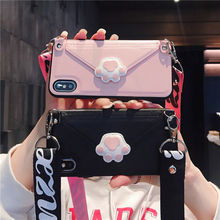 Cartoon Cat Claw Lanyard Card Case for IPhoneX XR XS XSMAX Faux Leather Portable Case for IPhone7 8 6 6S