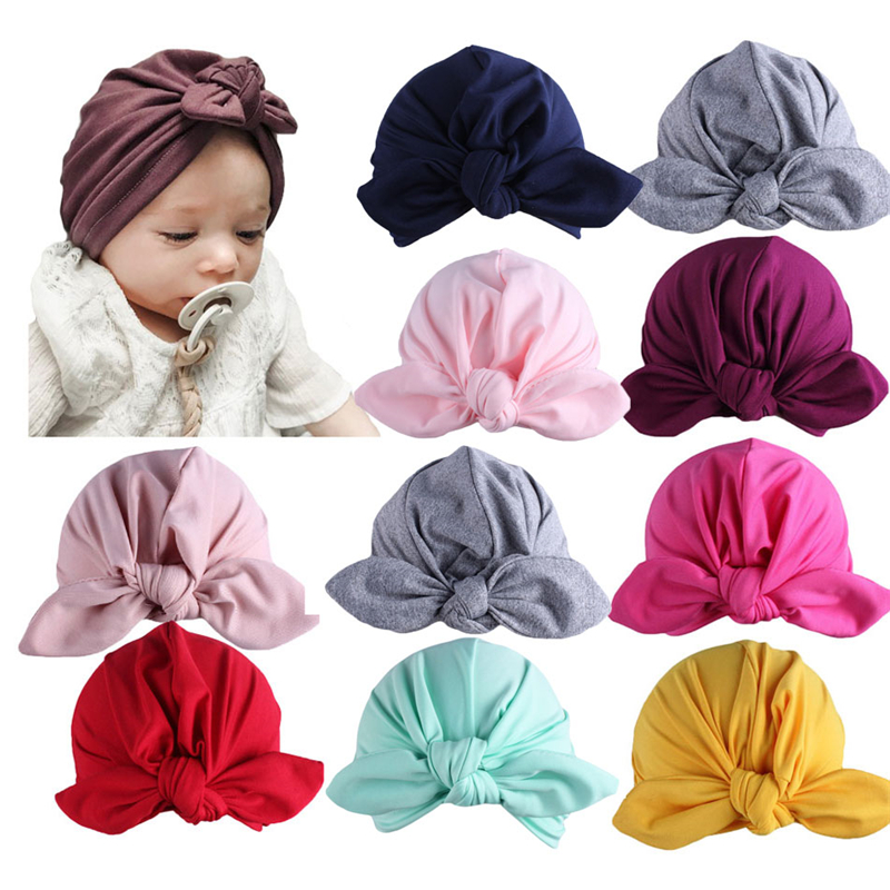 Newborn Infant Baby Toddler Kid Indian Turban Rabbit Knot Cotton Beanie Hat Cap