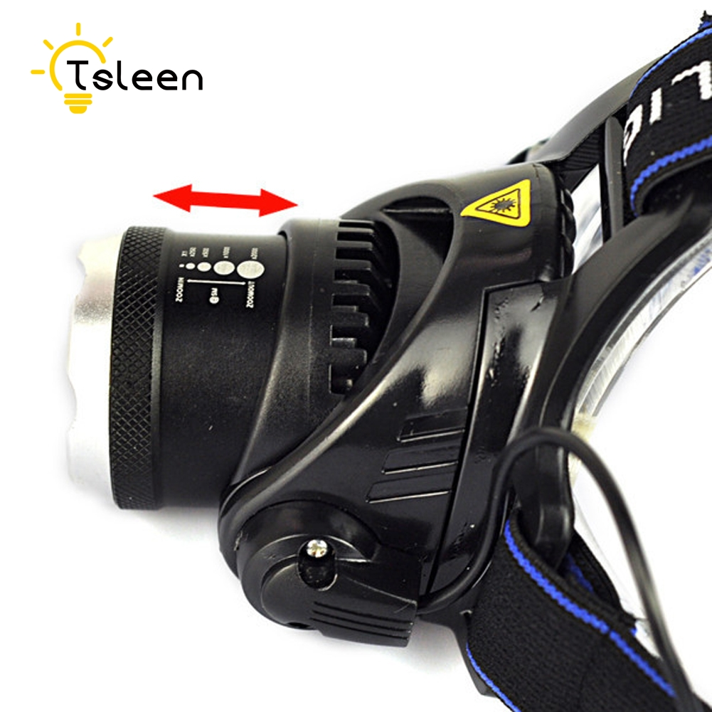 TSLEEN 2000LM LED T6 Headlamp Headlight Head Lamp lighting Light Flashlight Torch Lantern Fishing+18650 battery + US/EU Charger
