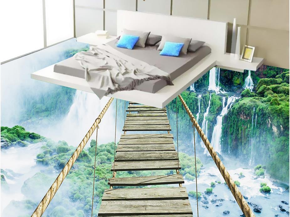 Custom 3d floor art Waterfall Adventure Rope Wooden Bridge 3d floor murals waterproof wallpaper