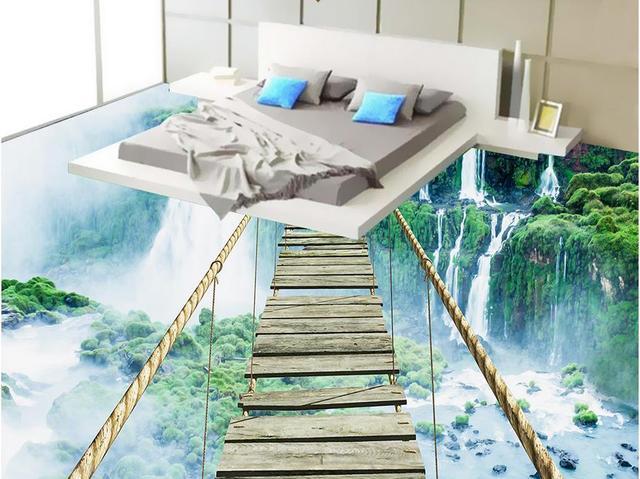Custom 3d Floor Art Waterfall Adventure Rope Wooden Bridge 3d Floor Murals  Waterproof Wallpaper For Bathroom