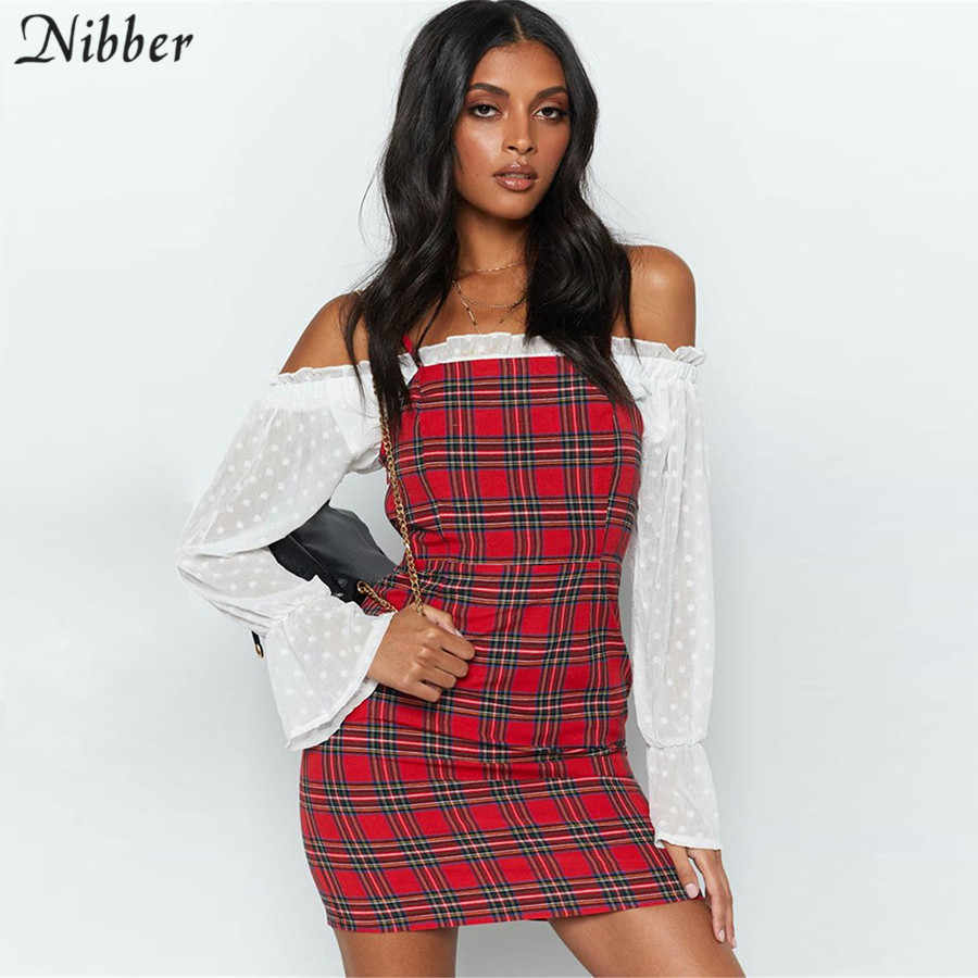Nibber Ретро красный плед печати bodycon Мини платья женские 2019 летние дикие повседневные платья для вечеринок модное базовое дамское короткое платье