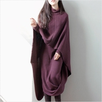 SuperAen Long Sweater Dress Pluz Size Solid Color Asymmtrical Ladies Dresses New Autumn and Winter Wild Loose Cotton Women Dress