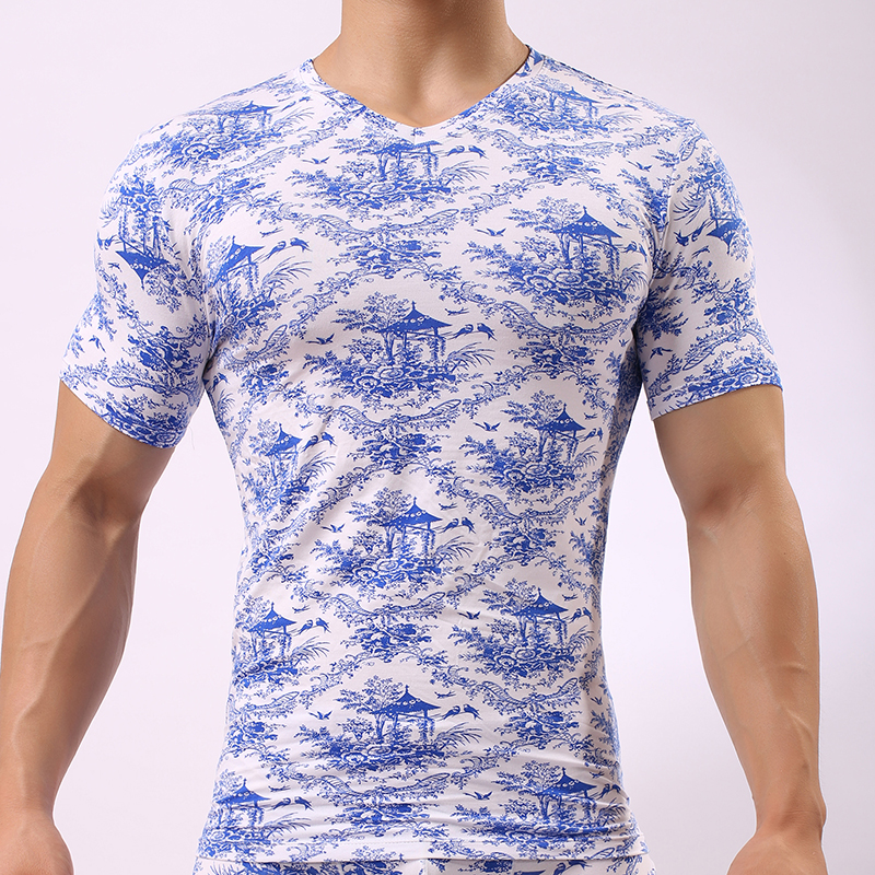 JJSOX Man Undershirts/Men Sexy Blue White Print Ice Silk Modal Bodybuilding Shirts/Gay S ...