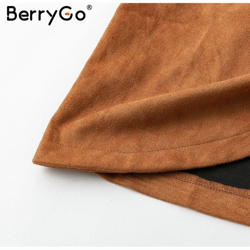 BerryGo High waist belt suede leather skirt female Autumn winter irregular bodycon mini skirt Sexy streetwear women skirt bottom 13