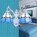 Средиземноморский светильник Настенный светильник 2 e27 лампы белый ретро гостиная светло-голубой цвет витражные стеклянные железные свети...