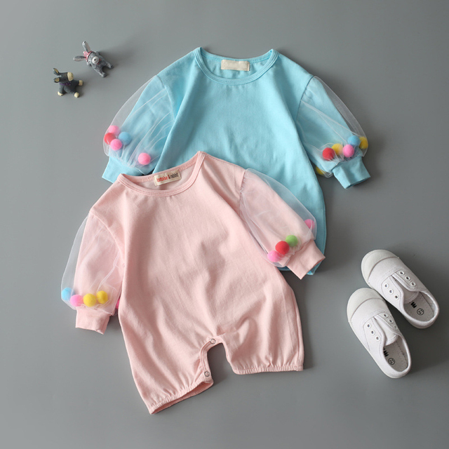 Baby Clothes Cotton Baby Girl Clothes Spring Infant Girl princess Jumpsuits Kids Costume For Newborn Baby Girl pompom Romper
