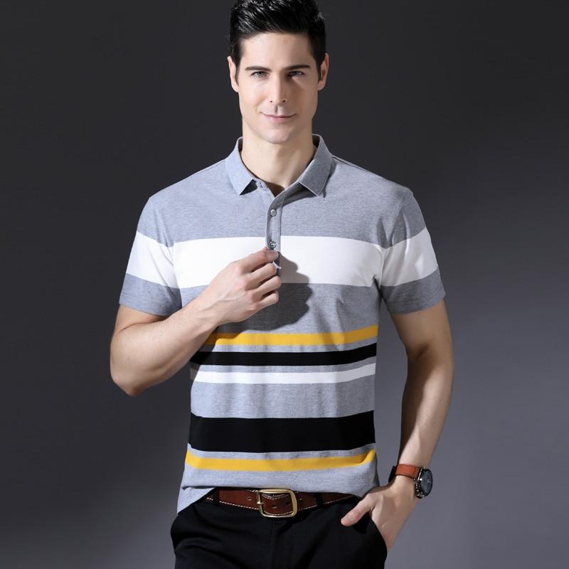 2018 Neue Ankunft Sommer Kurzarm Polo Shirts Männer Baumwolle Kontrast Farbe Gestreiften Polo Drehen-unten Kragen Smart Kausalen Polo- Spezieller Sommer Sale