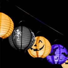 1 PC Kreatif Halloween Spider Bat Gantung Cahaya Lampu LED Lentera Kertas Labu Halloween Party Garden Home Decor(China)