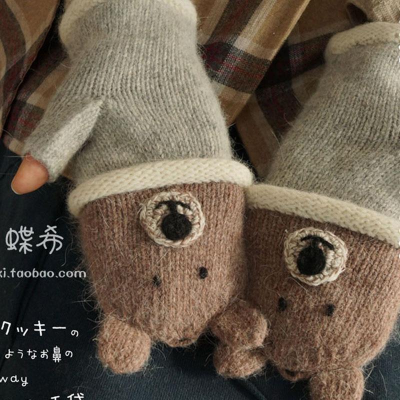 Winter Lolita Kawaii Cartoon Lovely Bear Lion Winter Wool Gloves Women Japanese Half Finger Warm Thicken Fingerless Gloves A282
