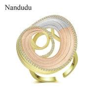 Nandudu High Quality A+ Cubic Zircon Round Ring for Women Three Tones Gold Open Cuff CZ Rings Elegant Jewelry Bijouterie R2050