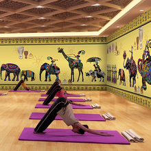 Free Shipping Retro India style elephant wallpaper yoga fitness health museum hotel large mural wallpaper