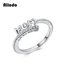 Ailodo Letter Mom Rings Mothers Day Gift Silver Color Crystal For Women Femme Bijoux Simple Fashion Copper Jewelry LD054