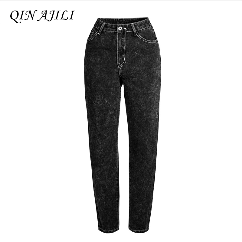 QIN AJILI Newest Winter Women s Jeans Mid Waist Black Ripped Straight Ankle-Length Pants Cotton Denim Fashion Trousers for Lady