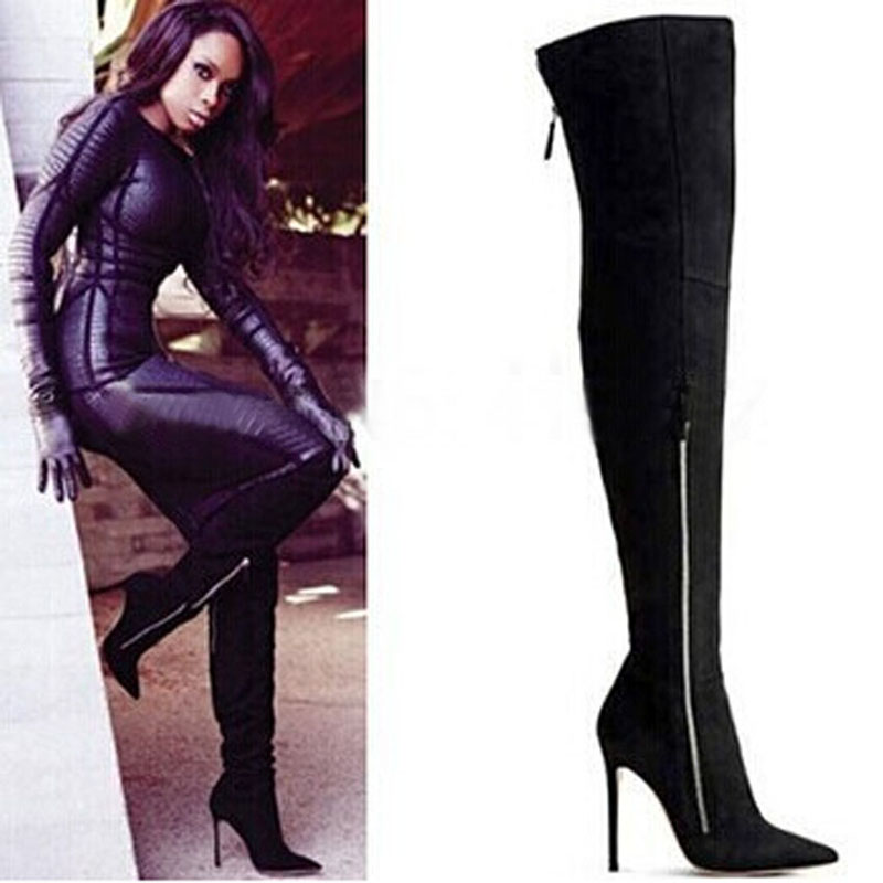 Sexy Winter Boots Pointed Toe Thigh High Boots Suede Leather High Heels Over The Knee Boots Woman Party Shoes
