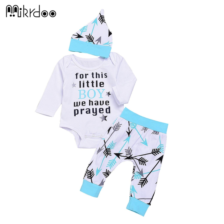 HOT SALE Cute Newborn Baby Girl Boy Clothes letters arrow Tops T-shirt Long Sleeve + Pants Casual Hat Cap 3pcs Outfits Set Aut