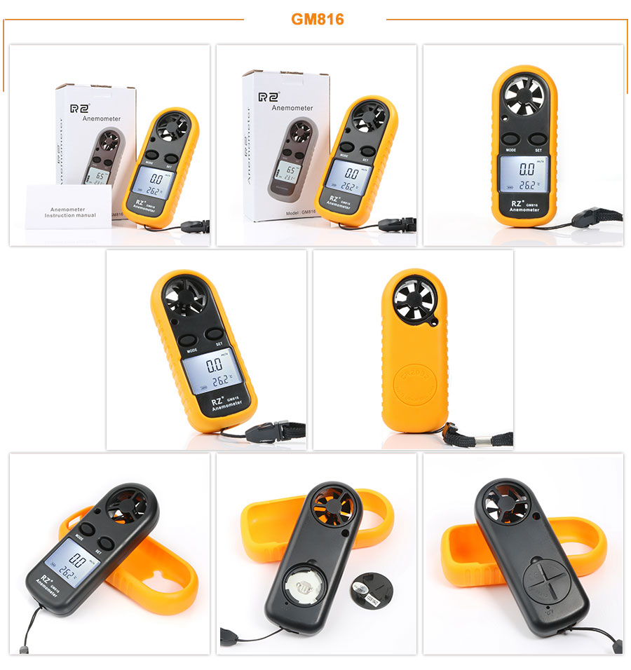 Portable RZ GM816 Wind Speed Meter Used as Anemometer with LCD Display Useful for Windsurfing 13