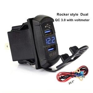 Image 3 - Nowy szybki ładunek 3.0 podwójny przełącznik kołyskowy USB QC 3.0 szybka ładowarka woltomierzem LED dla łodzi samochód ciężarówka motocykl Smartphone Tablet