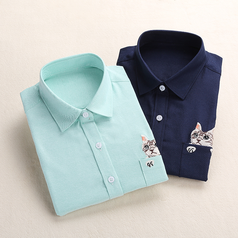 Dioufond Women School   Shirt   White Blue Tops Ladies   Blouses   Long Sleeve   Shirt   Female Office Top Pocket With Cat Embroidery