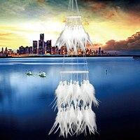 كبيرة بيضاء فانوس حلم الماسك الريشة سيارة الزفاف الجدار شنقا ديكور الحرفية الأزياء الهند نمط اليدوية حلم الماسك