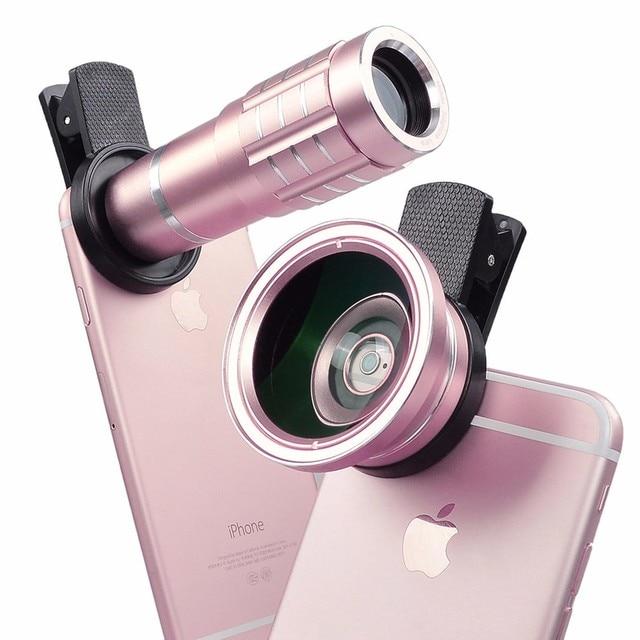2017 Nova Universal 0.45X HD Grande Angular lentes Macro lente telefoto 12x para sony xperia z1 z3 compact m5 xa asus zte huawei p6