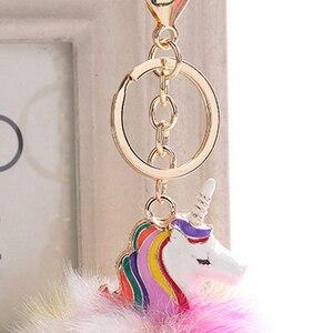 Image 5 - かわいいユニコーンぬいぐるみふわふわ毛皮ポンポン金属unicornioキーリング女性女の子バッグハングペンダント子供の誕生日イースターギフトおもちゃ