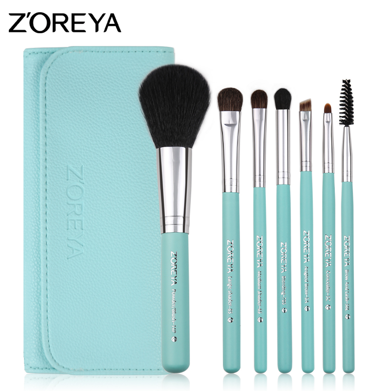 ZOREYA Brand 2017 New Arrival Colorful 7pcs Pony Hair Make Up Brushes With High Grade Leather