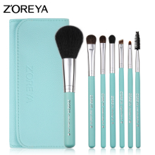 ZOREYA Brand 2017 New Arrival Colorful 7pcs Pony Hair Make Up Brushes With High Grade Leather Bag For Fashion Woman basic Beauty