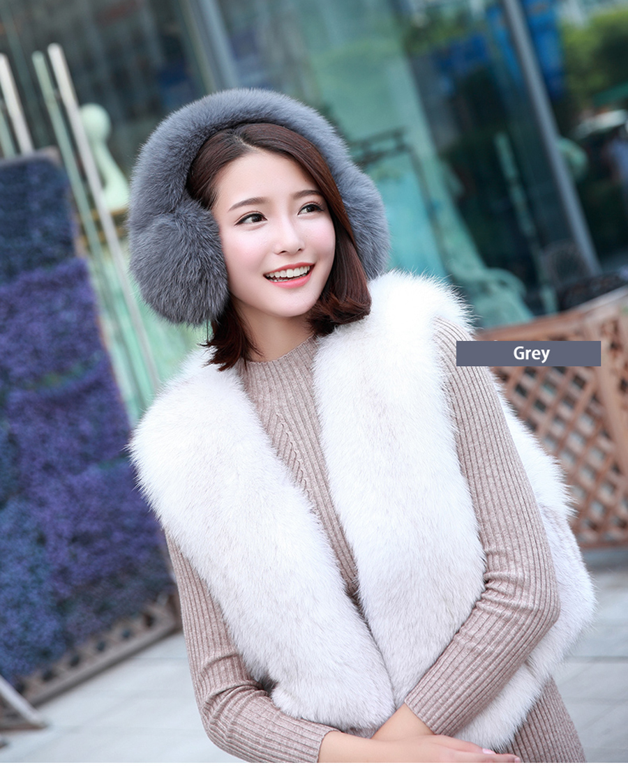 2016 Brand New Fashion Luxury Genuine Real Fox Raccoon  Fur Winter Warm Fluffy  Earmuffs Earcaps Scarf Scarves Free Shipping